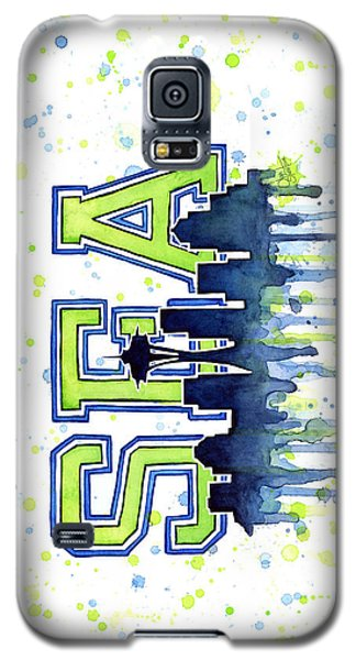 Seattle Watercolor 12th Man Art Painting Space Needle Go Seahawks Galaxy S5 Case by Olga Shvartsur