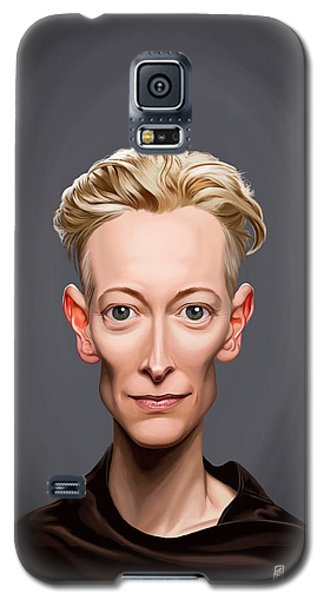Galaxy S5 Case featuring the drawing Celebrity Sunday - Tilda Swinton by Rob Snow