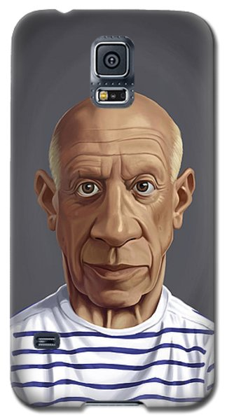 Galaxy S5 Case featuring the drawing Celebrity Sunday - Pablo Picasso by Rob Snow