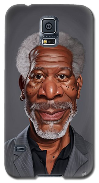 Galaxy S5 Case featuring the drawing Celebrity Sunday - Morgan Freeman by Rob Snow