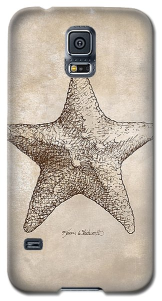 Galaxy S5 Case featuring the drawing Distressed Antique Nautical Starfish by Karen Whitworth