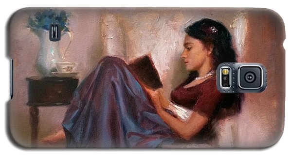 Galaxy S5 Case featuring the painting Jaidyn Reading A Book 2 - Portrait Of Woman by Karen Whitworth