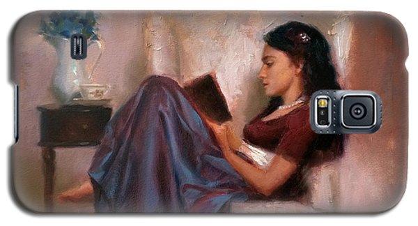 Jaidyn Reading A Book 2 - Portrait Of Woman Galaxy S5 Case by Karen Whitworth