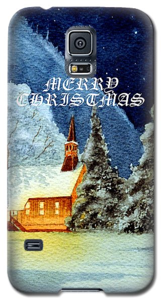 Galaxy S5 Case featuring the painting Merry Christmas Card Yosemite Valley Chapel by Bill Holkham