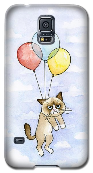 Grumpy Cat And Balloons Galaxy S5 Case