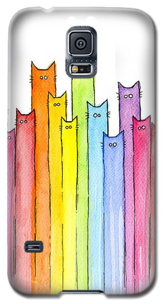 Galaxy S5 Case - Cat Rainbow Watercolor Pattern by Olga Shvartsur