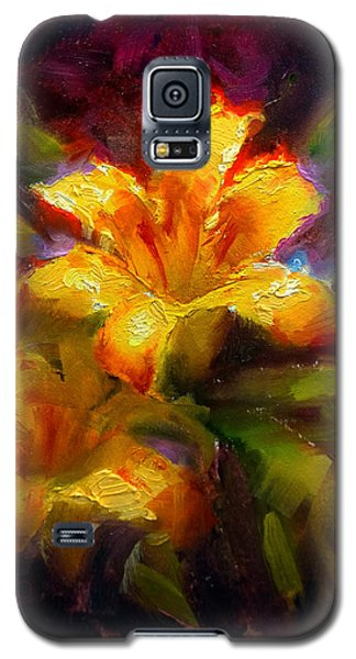 Galaxy S5 Case featuring the painting Daylily Sunshine - Colorful Tiger Lily/orange Day-lily Floral Still Life  by Karen Whitworth