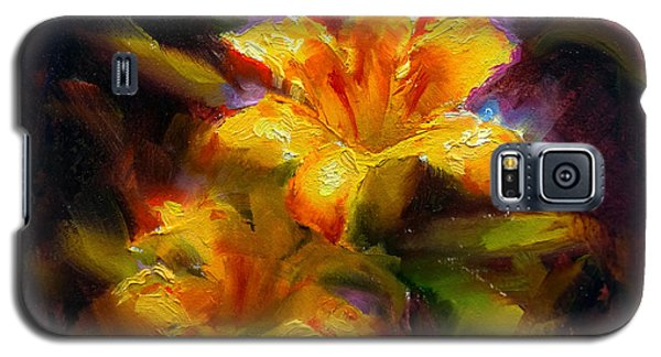 Daylily Sunshine - Colorful Tiger Lily/orange Day-lily Floral Still Life  Galaxy S5 Case