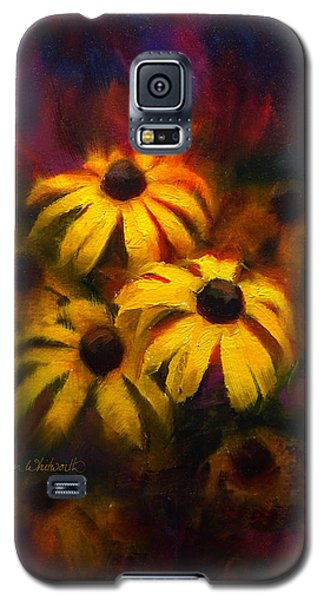 Galaxy S5 Case featuring the painting Black Eyed Susans - Vibrant Flowers by Karen Whitworth