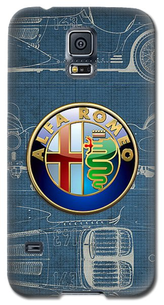 Alfa Romeo 3 D Badge Over 1938 Alfa Romeo 8 C 2900 B Vintage Blueprint Galaxy S5 Case