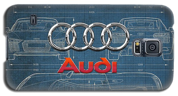 Audi 3 D Badge Over 2016 Audi R 8 Blueprint Galaxy S5 Case by Serge Averbukh