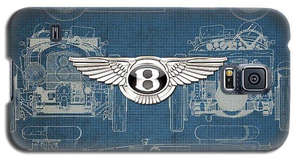 Bentley - 3 D Badge Over 1930 Bentley 4.5 Liter Blower Vintage Blueprint Galaxy S5 Case by Serge Averbukh