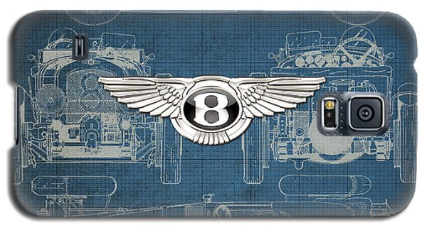 Bentley - 3 D Badge Over 1930 Bentley 4.5 Liter Blower Vintage Blueprint Galaxy S5 Case