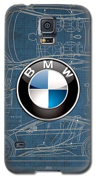 B M W 3 D Badge Over B M W I8 Blueprint  Galaxy S5 Case by Serge Averbukh