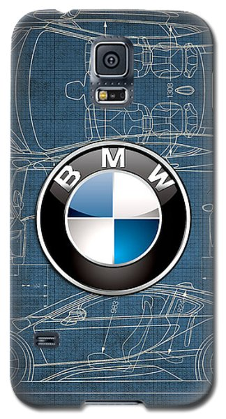 B M W 3 D Badge Over B M W I8 Blueprint  Galaxy S5 Case