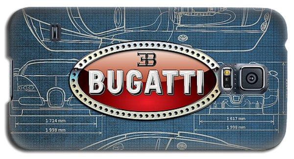 Bugatti 3 D Badge Over Bugatti Veyron Grand Sport Blueprint  Galaxy S5 Case by Serge Averbukh