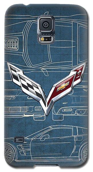 Chevrolet Corvette 3 D Badge Over Corvette C 6 Z R 1 Blueprint Galaxy S5 Case