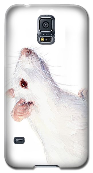 Mouse Galaxy S5 Case - White Albino Rat Watercolor by Olga Shvartsur