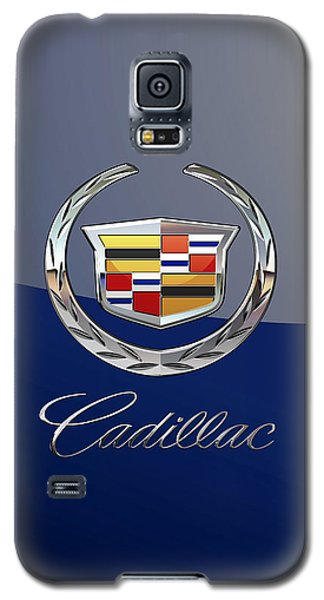 Cadillac 3 D  Badge Special Edition On Blue Galaxy S5 Case
