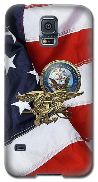 U. S. Navy S E A Ls Trident Over American Flag  Galaxy S5 Case