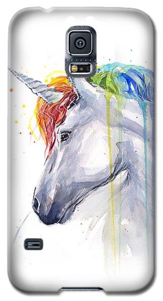 Unicorn Rainbow Watercolor Galaxy S5 Case by Olga Shvartsur