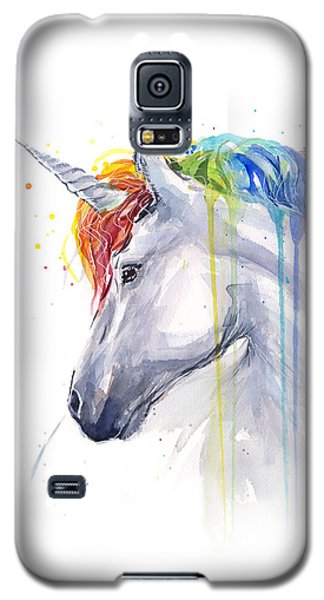 Unicorn Rainbow Watercolor Galaxy S5 Case by Olga Shvartsur