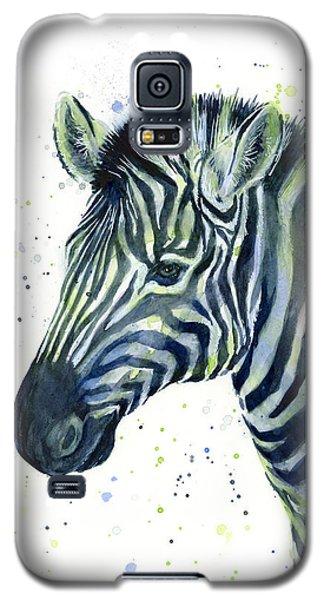 Zebra Watercolor Blue Green  Galaxy S5 Case by Olga Shvartsur