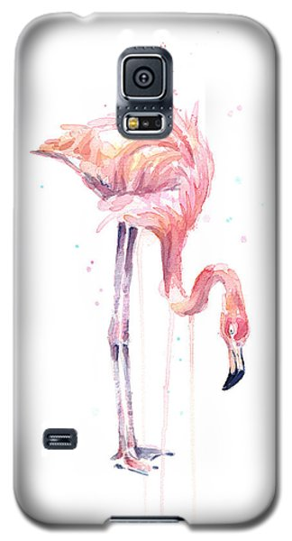 Flamingo Painting Watercolor Galaxy S5 Case by Olga Shvartsur