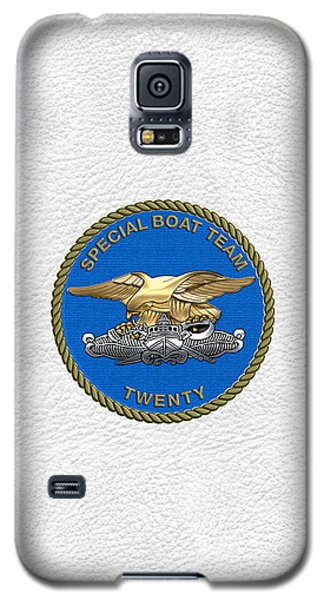 U. S. Navy S W C C - Special Boat Team 20   -  S B T 20   Patch Over White Leather Galaxy S5 Case
