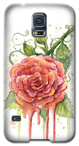 Red Rose Dripping Watercolor  Galaxy S5 Case