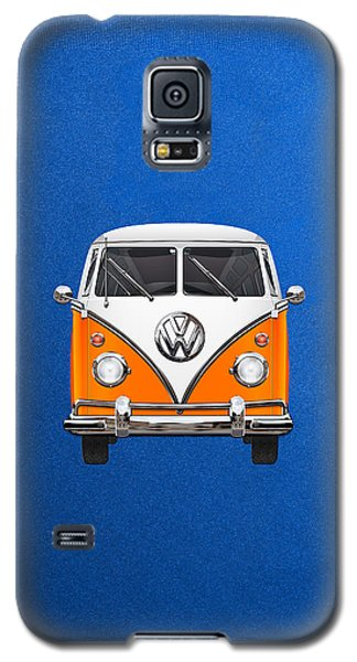 Volkswagen Type - Orange And White Volkswagen T 1 Samba Bus Over Blue Canvas Galaxy S5 Case