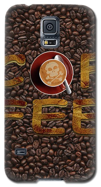 Galaxy S5 Case featuring the painting Coffee Funny Typography by Georgeta Blanaru