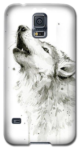 Watercolor Galaxy S5 Case - Howling Wolf Watercolor by Olga Shvartsur