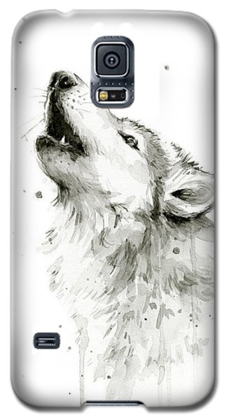 Howling Wolf Watercolor Galaxy S5 Case by Olga Shvartsur