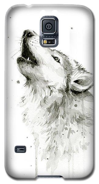 Howling Wolf Watercolor Galaxy S5 Case by Olga Shvartsur