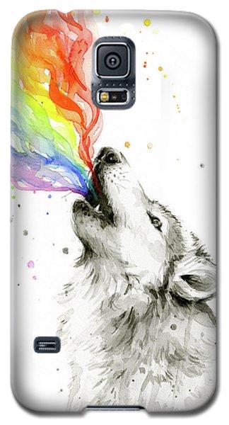 Wolf Rainbow Watercolor Galaxy S5 Case