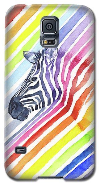 Rainbow Zebra Pattern Galaxy S5 Case by Olga Shvartsur