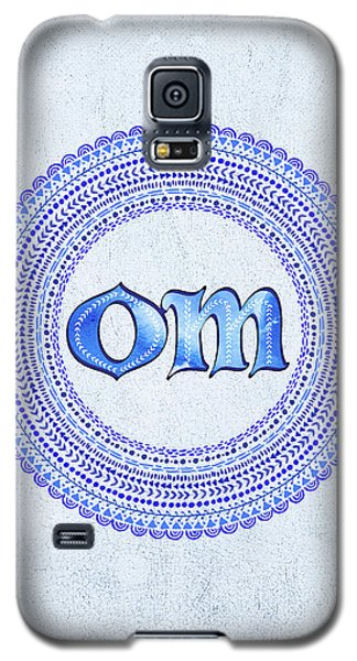 Galaxy S5 Case featuring the painting Blue Om Mandala by Tammy Wetzel