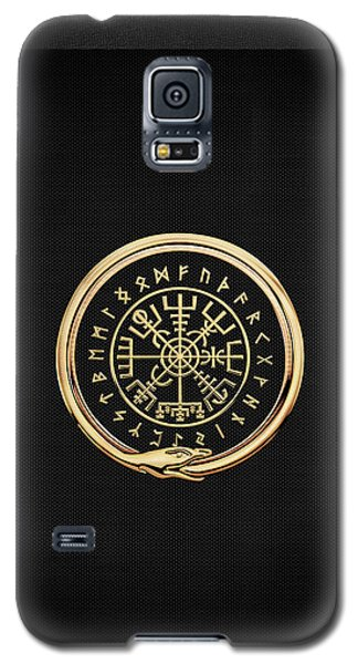 Vegvisir - A Magic Icelandic Viking Runic Compass - Gold On Black Galaxy S5 Case