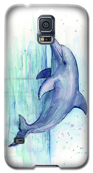 Dolphin Watercolor Galaxy S5 Case by Olga Shvartsur