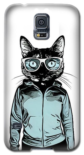 Galaxy S5 Case featuring the mixed media Cool Cat by Nicklas Gustafsson