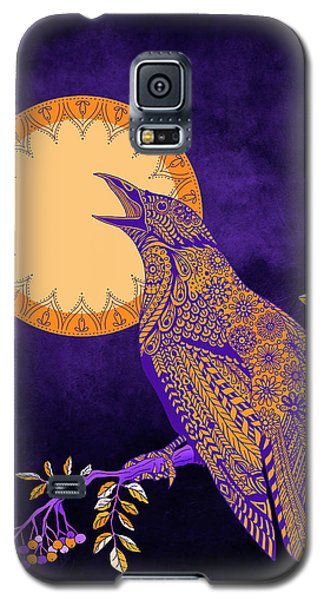 Galaxy S5 Case featuring the drawing Halloween Crow And Moon by Tammy Wetzel