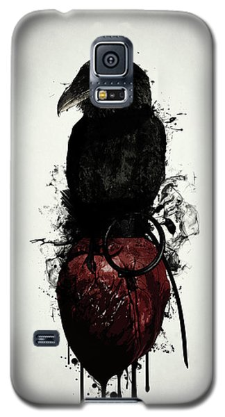 Crow Galaxy S5 Case - Raven And Heart Grenade by Nicklas Gustafsson