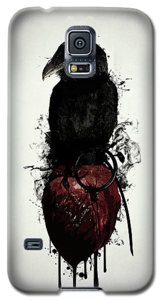 Galaxy S5 Case featuring the digital art Raven And Heart Grenade by Nicklas Gustafsson