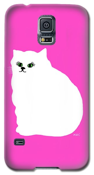 Cartoon Plump White Cat On Pink Galaxy S5 Case by Marian Cates