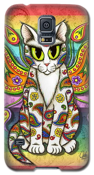 Rainbow Paisley Fairy Cat Galaxy S5 Case by Carrie Hawks