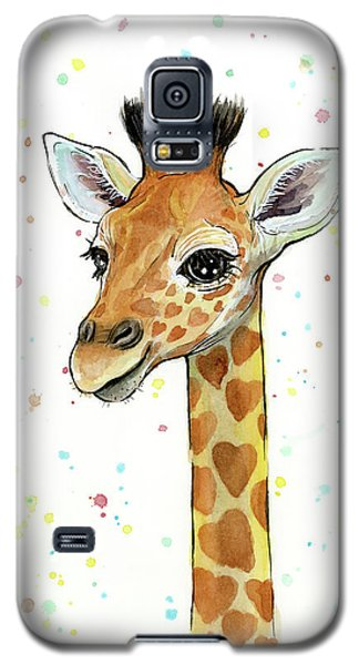 Baby Giraffe Watercolor With Heart Shaped Spots Galaxy S5 Case