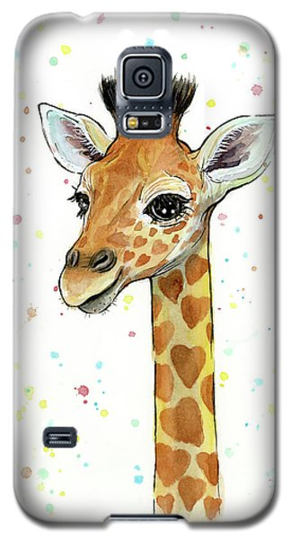 Baby Giraffe Watercolor With Heart Shaped Spots Galaxy S5 Case by Olga Shvartsur