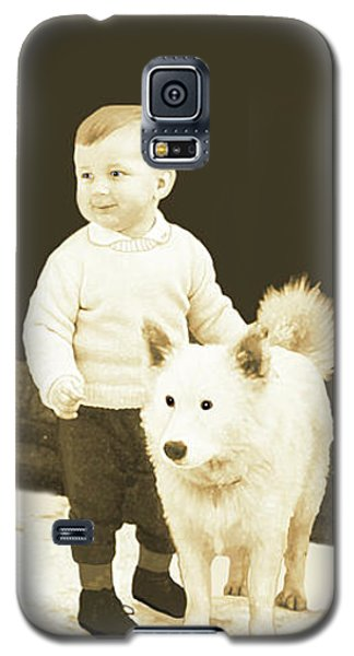 Sweet Vintage Toddler With His White Mutt Galaxy S5 Case by Marian Cates