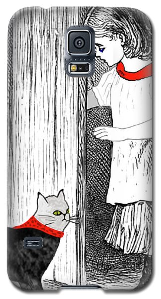 Vintage Girl Lets In Her Gray Cat Galaxy S5 Case
